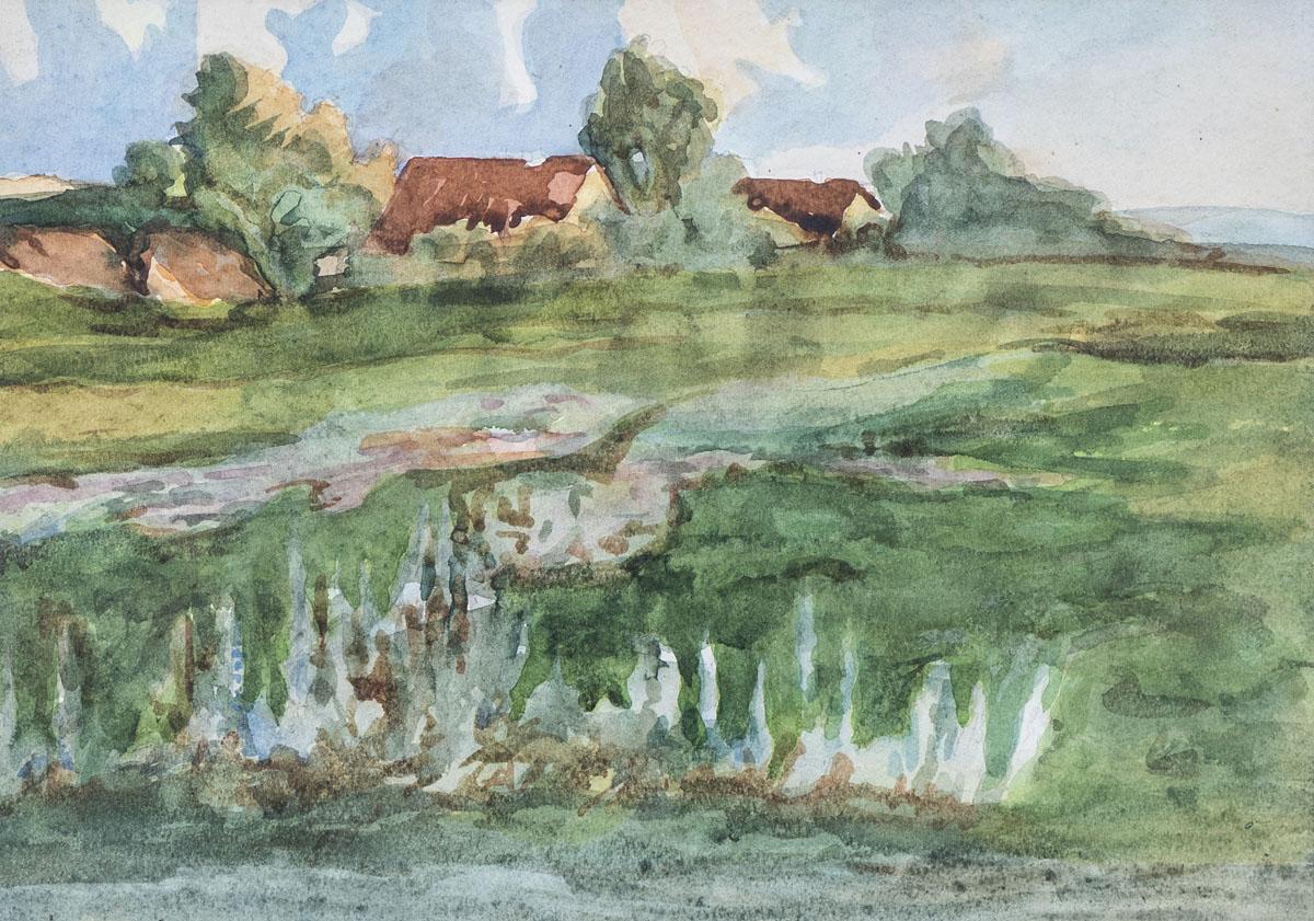 Bauernhäuser und Teich