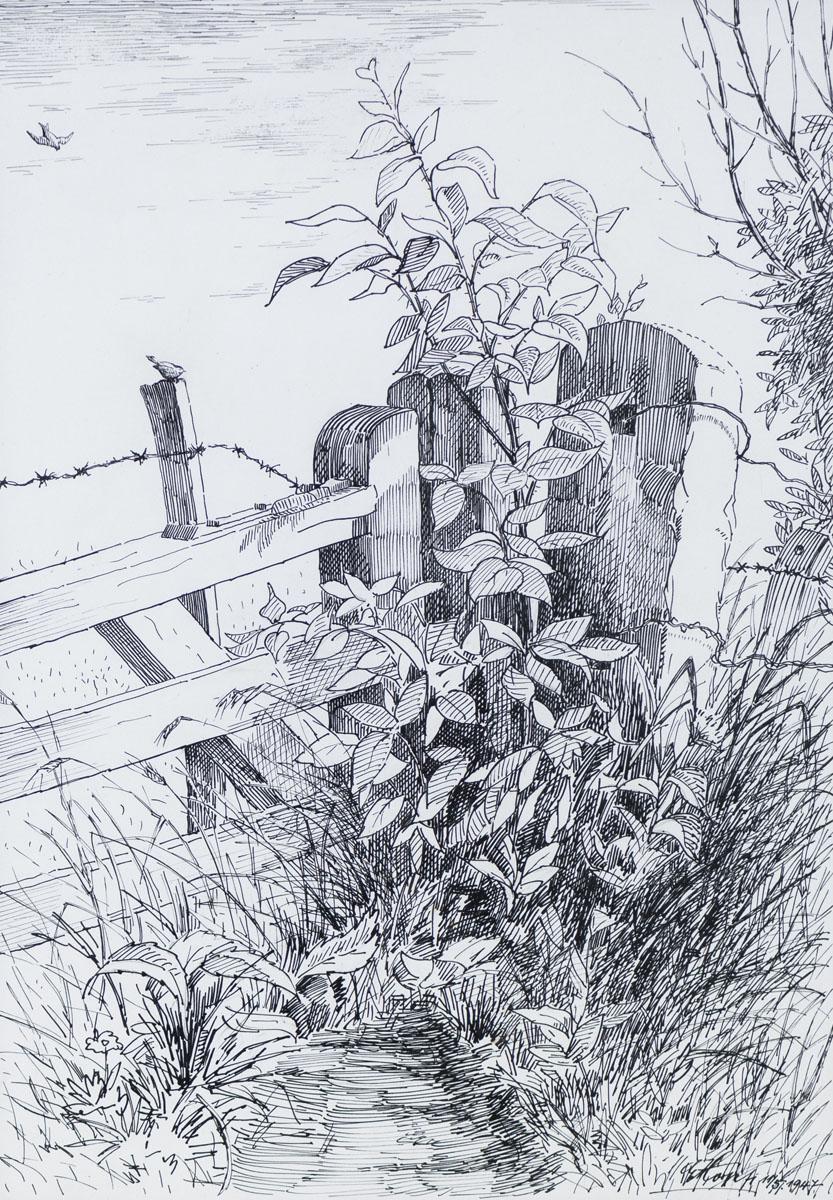 Tor, Pfosten und Zaun am Malerweg, Bentheim